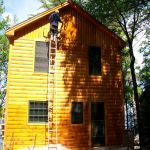 stained log house